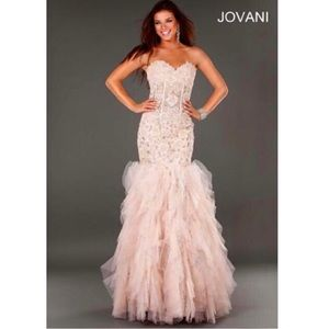 Jovani Blush Mermaid Evening Gown